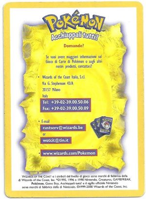 1999 2000 Theme Deck Insert Card Set Base Carte Pokémon
