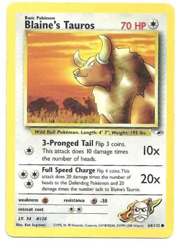 Blaine's Tauros – Gym Heroes – 64132 – Comune – ENG – Excellent – Carte Pokémon