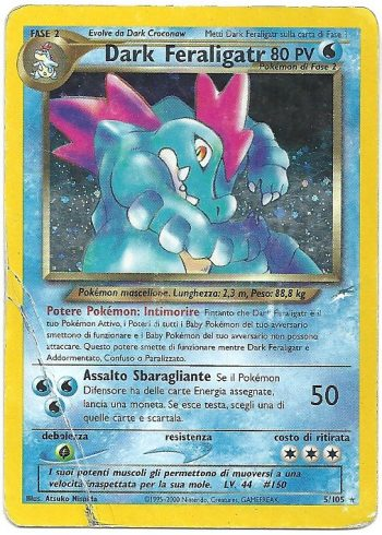Dark Feraligatr Neo Destiny 5105 Rara Holo ITA Played Carte Pokémon