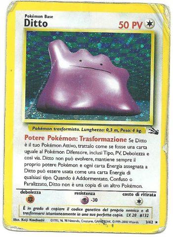 Ditto Fossil 362 Rara Holo ITA Poor Carte Pokémon