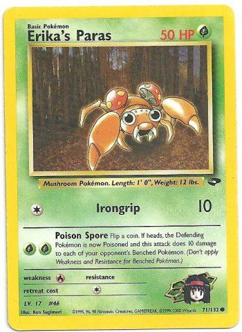 Erika s Paras Gym Challenge 71132 Comune ENG Excellent Carte Pokémon