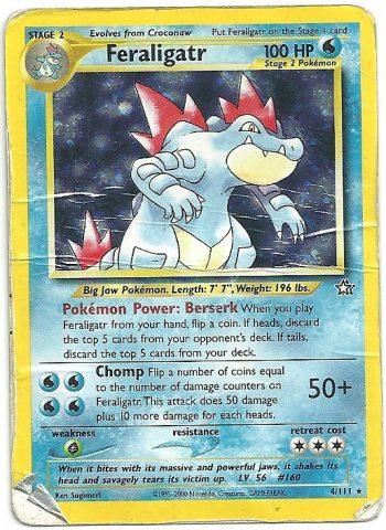 Feraligatr Berserk Neo Genesis 4111 Rara Holo ITA Poor Carte Pokémon