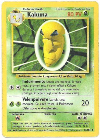 Kakuna – Set Base – 33102 – Non Comune – Carte Pokémon