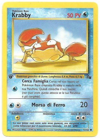 Krabby Fossil 5162 Comune 1st ed. ITA Excellent Carte Pokémon