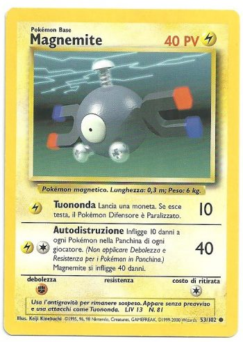 Magnemite Set Base 53102 Comune ITA Excellent Carte Pokémon