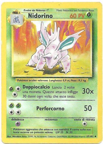 Nidorino Set Base 37102 Non Comune ITA Light Played Carte Pokémon