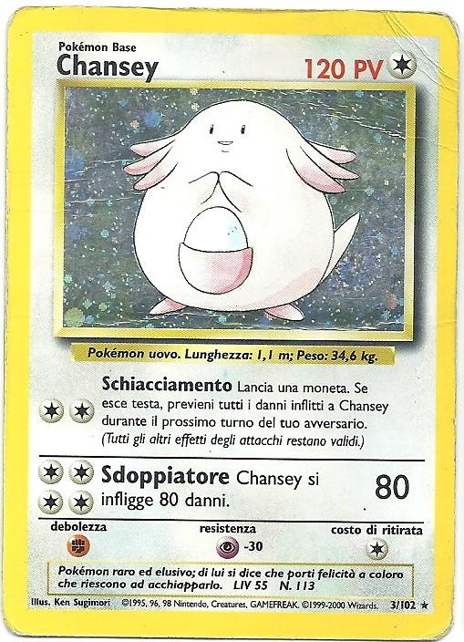 Chansey Set Base 3102 Rara Holo Carte Pokémon