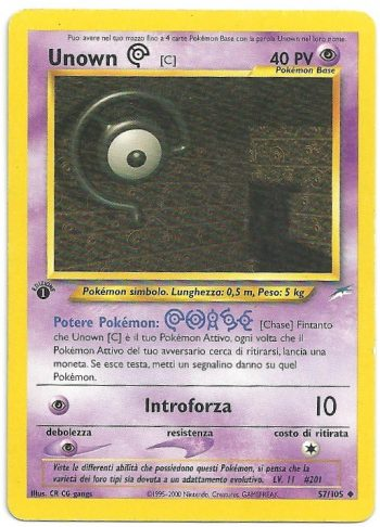 Unown C Neo Destiny 57105 1st ed. Non Comune Carte Pokémon