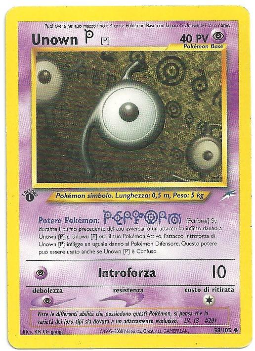 Unown P Neo Destiny 58105 1st ed. Non Comune Carte Pokémon