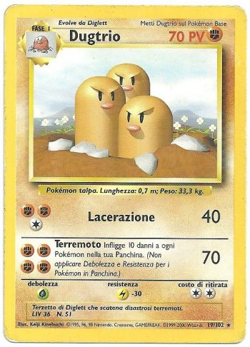 Dugtrio Set Base 19102 Rara Carte Pokémon