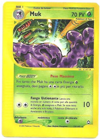 Muk Aquapolis 23147 Rara Carte Pokémon