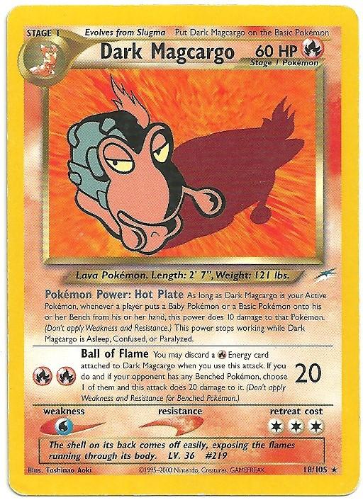 Dark Magcargo Neo Destiny 18105 Rara Carte Pokémon