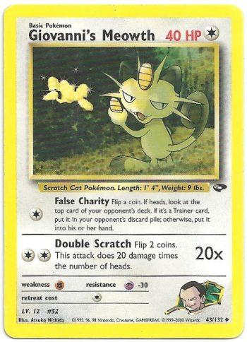 Giovanni s Meowth Gym Challenge 43132 Non Comune Carte Pokémon