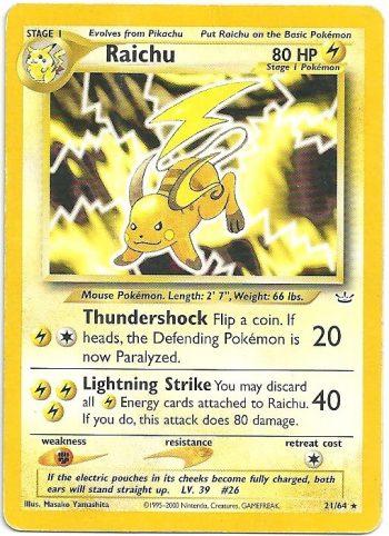 Raichu Neo Revelation 2164 Rara Carte Pokémon