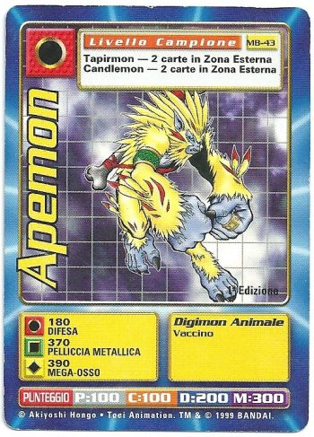 Apemon MB 43 1st ed Carte Digimon