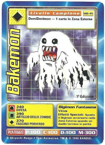 Bakemon MB 45 1st ed Carte Digimon
