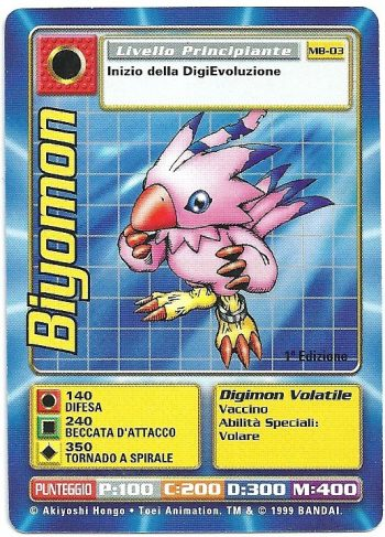 Biyomon MB 03 1st ed Carte Digimon