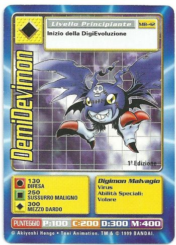 DemiDevimon MB 42 1st ed Carte Digimon