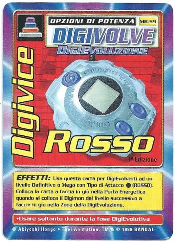 Digivice Rosso MB 59 1st ed Carte Digimon