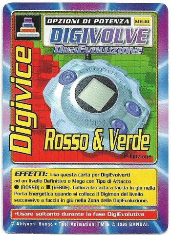 Digivice Rosso Verde MB 61 1st ed Carte Digimon
