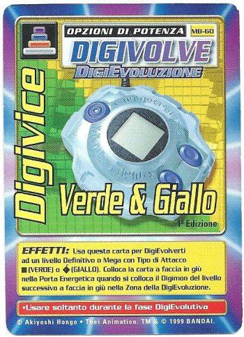 Digivice Verde Giallo MB 60 1st ed Carte Digimon