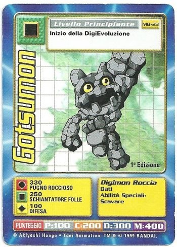 Gotsumon MB 23 1st ed Carte Digimon