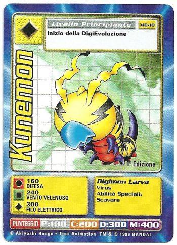 Kunemon MB 18 1st ed Carte Digimon