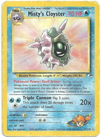 Misty s Cloyster Gym Heroes 29132 Rara Carte Pokémon