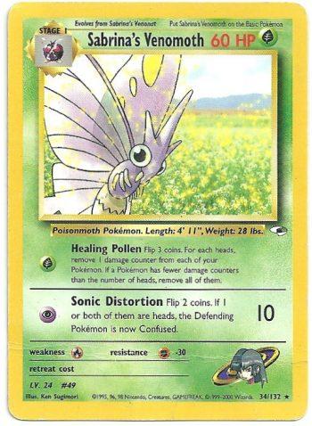 Sabrina s Venomoth Gym Heroes 34132 Rara Carte Pokémon