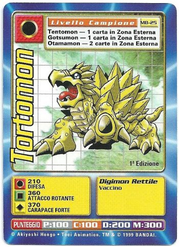 Tortomon MB 25 1st ed Carte Digimon