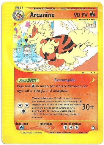 Arcanine Aquapolis 2147 Rara Carte Pokémon