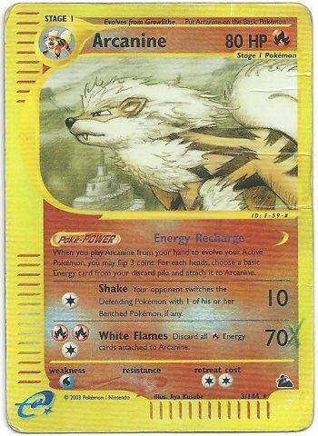 Arcanine Skyridge 3165 Rara Carte Pokémon
