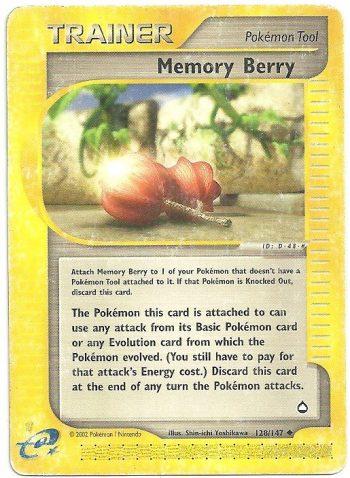 Bacca Memoria Aquapolis 128147 Non Comune Carte Pokémon