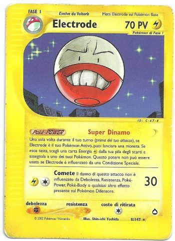 Electrode Aquapolis 8147 Rara Carte Pokémon