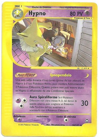 Hypno Aquapolis 16147 Rara Carte Pokémon