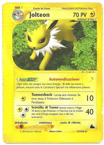 Jolteon Skyridge 13144 Rara Carte Pokémon