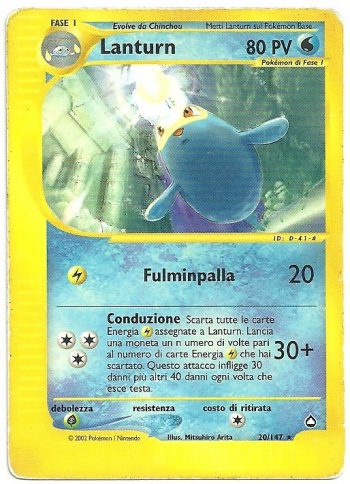 Lanturn Aquapolis 20147 Rara Carte Pokémon