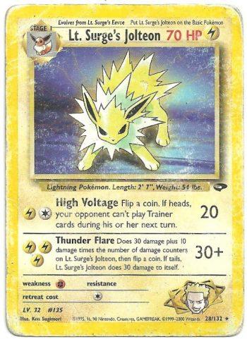 Lt Surges Jolteon Gym Challenge 28132 Rara Carte Pokémon