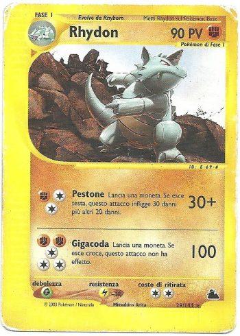Rhydon Skyridge 29144 Rara Carte Pokémon