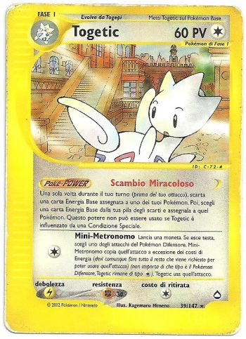 Togetic Aquapolis 39147 Rara Carte Pokémon