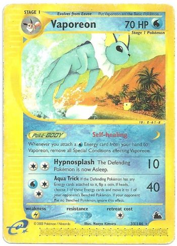 Vaporeon Skyridge 33144 Rara Carte Pokémon